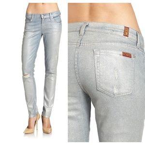 EUC 7FAM Size 26 Metallic Slim Cigarette Jeans
